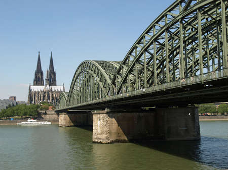 Koeln (Germany) panorama including the gothic cathedral and steel bridge over river Rhine Stock Photo - 5385843