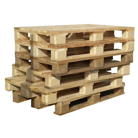 Pile of pallets isolated over white background