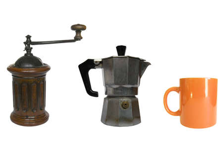 percolator: Traditional Italian coffee tools including miller, percolator and mug cup Stock Photo