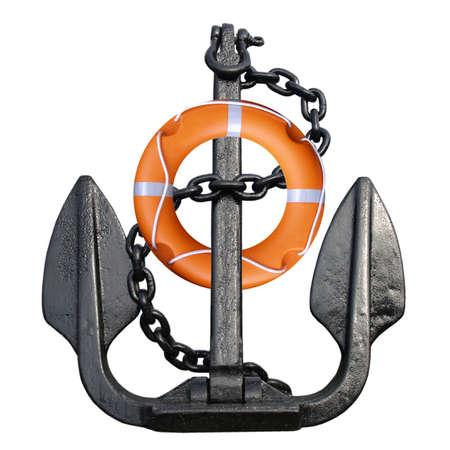Anchor met reddingsboei geïsoleerd over een witte achtergrond Stockfoto