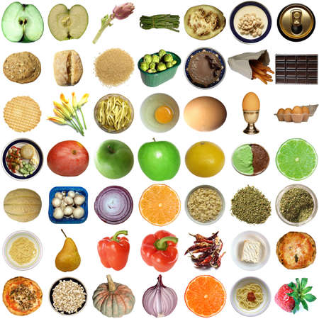 Collage of food isolated over white background Stock Photo - 5449169