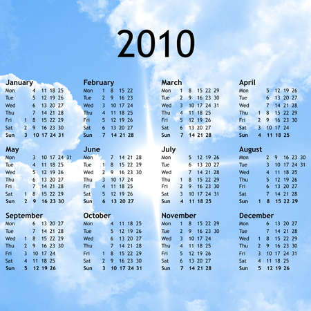 Calendar of year 2010 with   background photo
