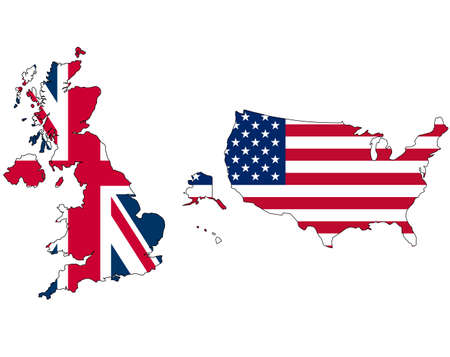 UK and USA union jack flag inside map photo