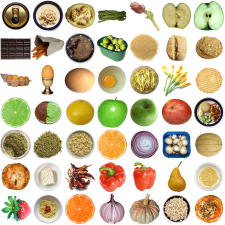 Collage of food isolated over white background Stock Photo - 5464878