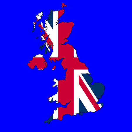 Union Jack Flag of the UK in country map over blue sea background Stock Photo - 5521302