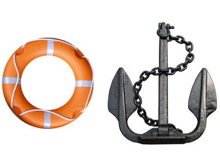 Anchor with lifebuoy isolated over a white background photo