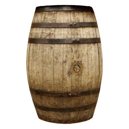 beer barrel: Wooden barrel cask for wine or beer isolated over white