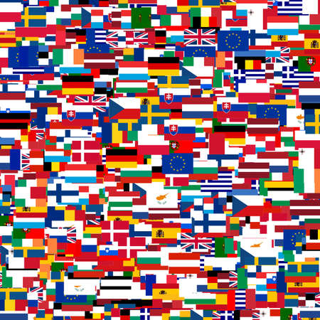 sweden flag: Collage of Flags of the European countries Stock Photo