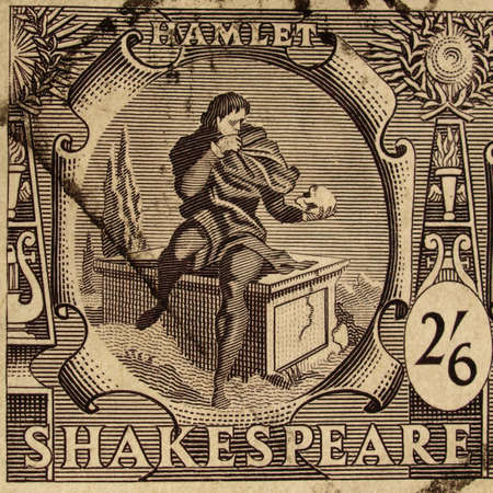 hamlet: UK CIRCA 1964 - Shakespeare Stamp with Hamlet, United Kingdom, Circa 1964