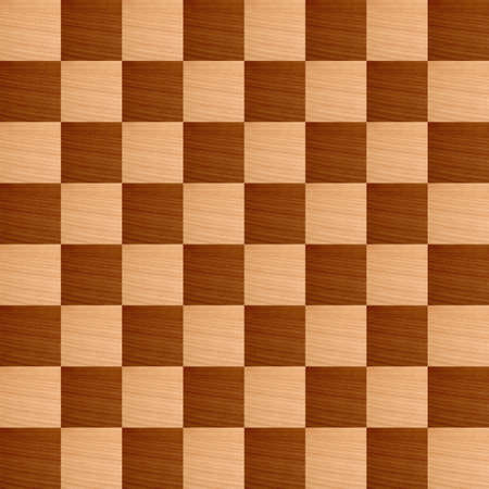 checker: Wooden chessboard with light and dark wood checkers