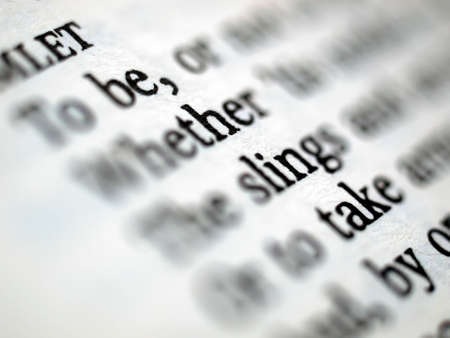 bard: Detail of Shakespeares Hamlet book page - selective focus Stock Photo
