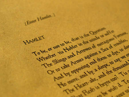 be or not to be: William Shakespeares Hamlet (original Middle English text from the First Folio of 1623) - selective focus