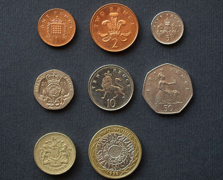 Range of British Pounds coins (UK currency)