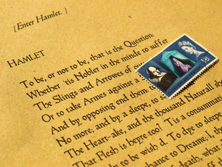 William Shakespeare's Hamlet (original Middle English text from the First Folio of 1623) with stamp - selective focus Stock Photo - 5710761