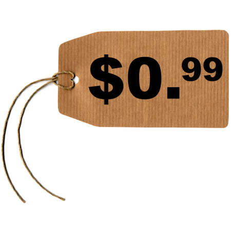 cent: Price tag label with string isolated over white, 0.99 dollar cent