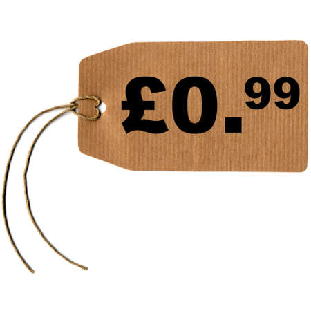 Price tag with string isolated over white, 0.99 pound pence photo