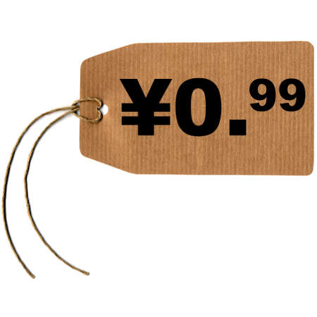 Price tag with string isolated over white, 0.99 yen cent photo