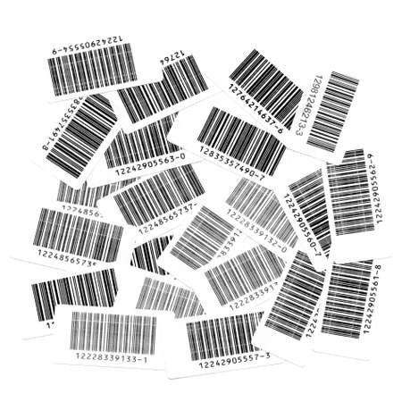 checkout line: Many bar codes over a white background Stock Photo