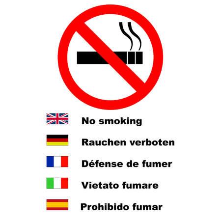 prohibido fumar: Ning�n signo de fumar escrita en varios idiomas