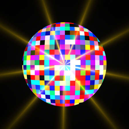 Illustration of disco mirror glitter ball with light reflections