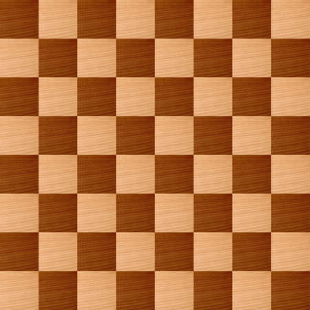 Wooden chessboard with light and dark wood checkers photo