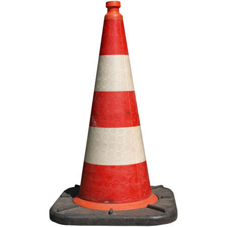 Traffic cone for road works isolated over white