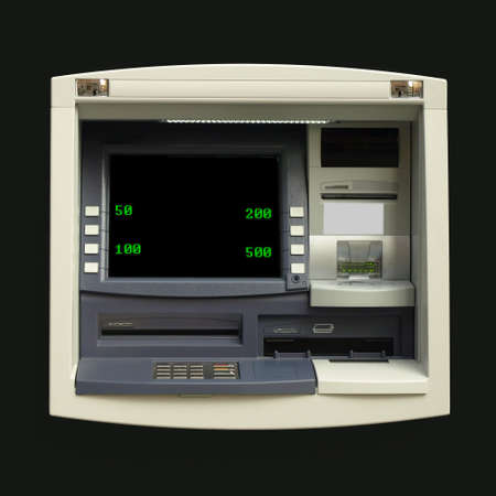 automatic teller: Automatic Teller Machine (ATM) for cash withdrawal at a bank