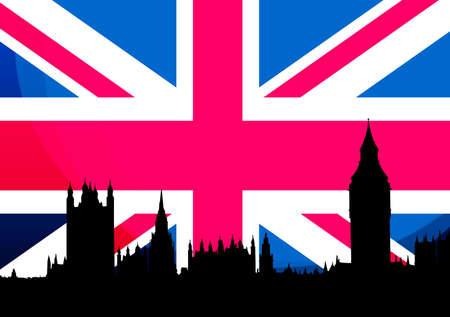 London Big Ben and Houses of Parliament silhouette in front of UK Flag photo