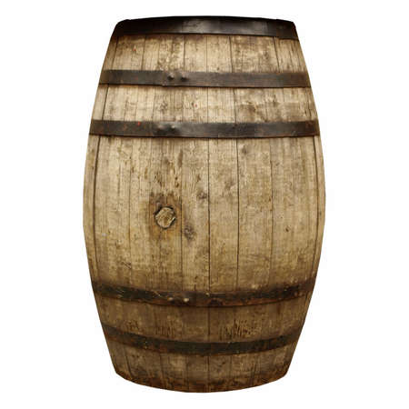 wood barrel: Wooden barrel cask for wine or beer isolated over white
