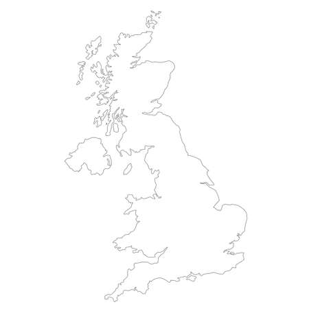 Blank UK map illustration in black and white illustration