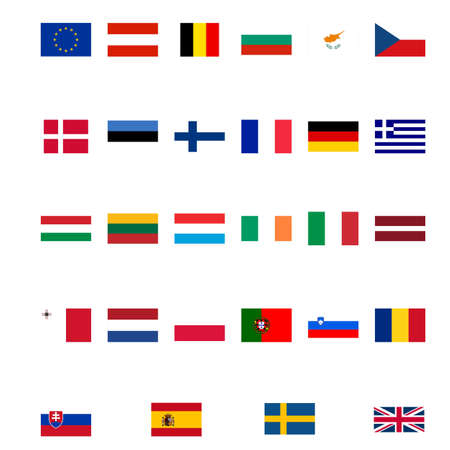 eec: Flags of the European Union isolated over white Stock Photo
