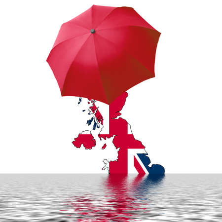 Map of the UK with umbrella and water symbolising flood