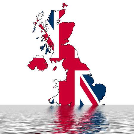Carte du Royaume-Uni avec l'eau symbolisant l'inondation