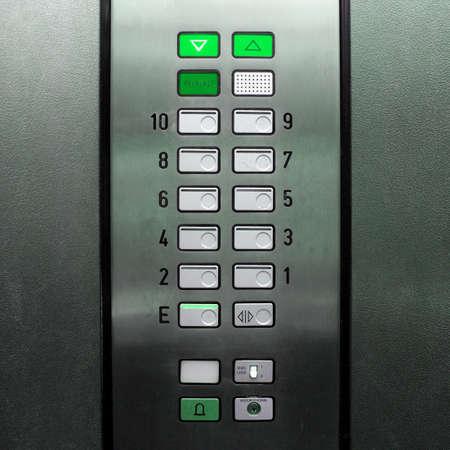 Detail of lift or elevator key pad
