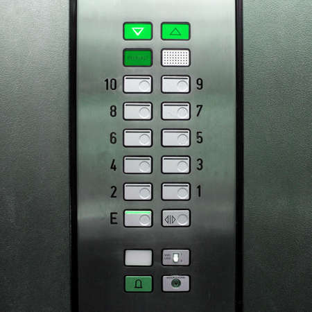 Detail of lift or elevator key pad