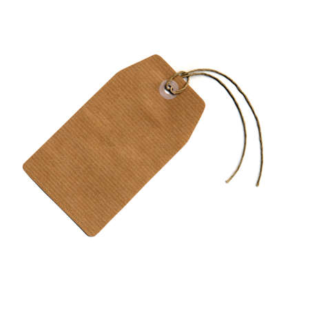 luggage tag: Price tag or address label with string