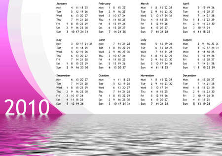 Calendar of year 2010 with water reflection photo
