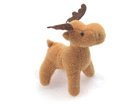 High key picture of Christmas moose deer in snow photo