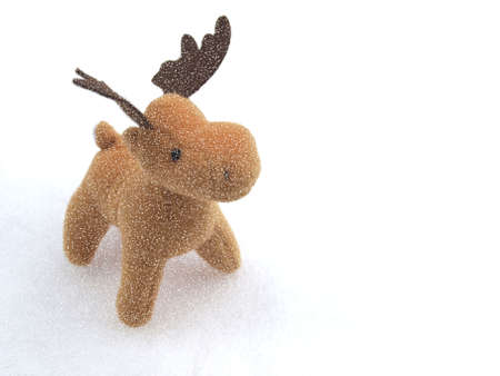 santa moose: High key picture of Christmas moose deer in snow