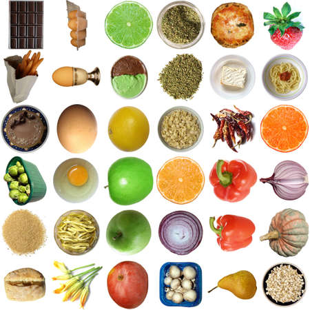 vegetable tin: Collage of food isolated over white background