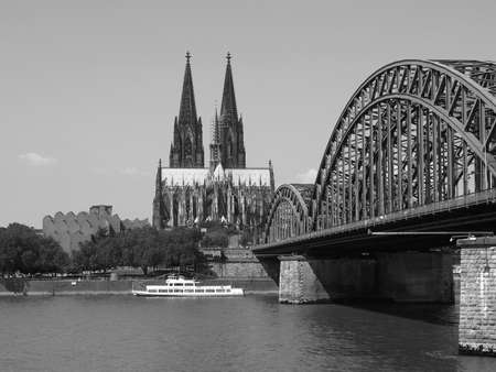 Koeln (Germany) panorama including the gothic cathedral and steel bridge over river Rhine Stock Photo - 6136516