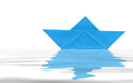 game over: Toy paper boat over blue water background Stock Photo
