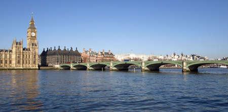 Westminster bridge panorama view in London, UK photo