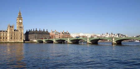 Westminster bridge panorama view in London, UK