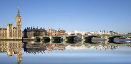 Westminster bridge panorama view in London, UK photo