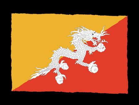 bhutan: Handdrawn flag of Bhutan