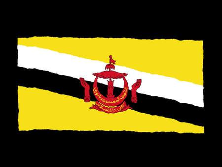 brunei: Handdrawn flag of Brunei