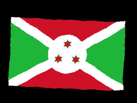 burundi: Handdrawn flag of Burundi
