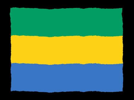 gabon: Handdrawn flag of Gabon Stock Photo