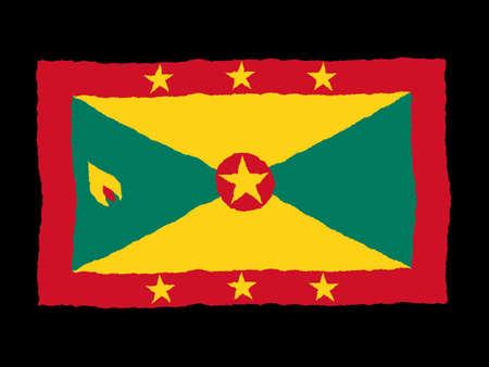 grenada: Handdrawn flag of Grenada